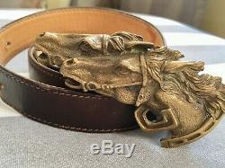 RARE Vintage GUCCI Double Horse Head Dark Brown Leather Belt