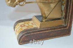 RARE Vintage Gucci Bookend Horse Equestrian Leather Office Decor