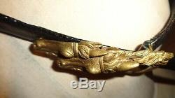 RARE Vintage Italy signed detail brass GUCCI Double Horse Heads black belt 90-36