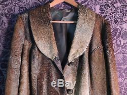 RARE Vintage Womens Brown Horse Hair Leather Trim Trench Coat (Size Medium)