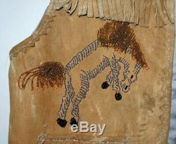RARE Vtg 1930s Kitsch Leather Western Fringe Vest withBeaded Horses Small
