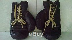 REACH BOXING GLOVES T8 Vintage / Antique Brown Leather Horse Hair