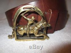 Ralph Lauren Polo Brown Leather Belt Brass Buckle Horse Italy 30 Vintage Superb