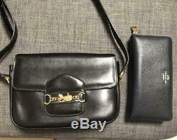 Rare Auth Celine Vintage Shoulder Bag Leather Black Horse Carriage