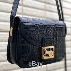 Rare Authentic CELINE Vintage Horse Carriage Leather Shoulder Bag Black