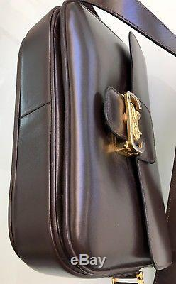Rare Authentic Celine New Vintage Horse Box Bag Leather Purse