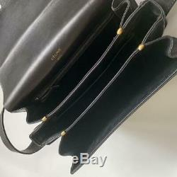 Rare Authentic Celine Vintage Shoulder Bag Leather Black Horse Carriage