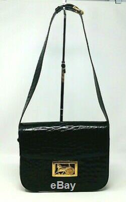 Rare Celine Box Horse Carriage Black Croc Patent Leather Shoulder Hand Bag VTG