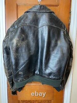 Rare VTG Genuine Horse Hide Front Quarter Black Leather Jacket Motorcycle Sz 44