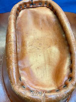 Rare Vintage 100% Leather Cowboy Hat Possible Custom Hollywood Prop