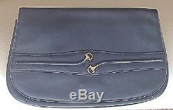 Rare Vintage 1966 Gucci Equestrian Navy Blue Horse-bit Clutch Handbag Purse