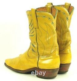 Rare Vintage 60s Vivid Yellow Peewee Cowboy Boots Inlay Green Eagles Men's 10