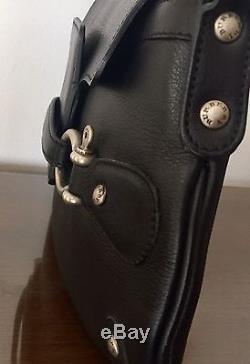 Rare Vintage BURBERRY London HORSE-BIT Black Leather HANDBAG ShoulderBag PURSE