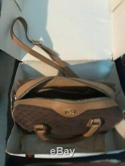 Rare Vintage GUCCI Brown Canvas Horsebit Monogram Doctor Satchel Tote Handbag