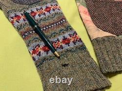 Rare Vintage Ralph Lauren 80s Floral Patchwork Hand Knit Cardigan Sweater