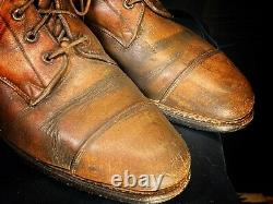 Rare Vintage Tall Leather Motorcycle Riding Made In USA Brown Buckle Boots