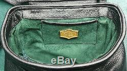 Rare Vintage VICENZA INC 1993 Black Leather Gold Tone Equestrian Horse Handbag