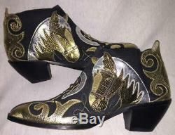 Rare ZALO Vintage Leather Horse Appliqué Ankle Boots Bootie Black & Metallic 7.5