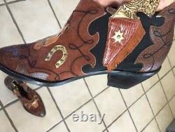 Rare ZALO Vintage Leather & Suede Horse Appliqué Ankle Boots Bootie 7.5M
