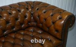 Restored 1900's Chesterfield Buttoned Hand Dyed Brown Leather Sofa Horse Hair