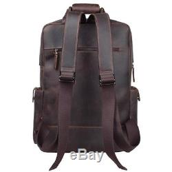 S-ZONE Vintage Crazy Horse Genuine Leather Backpack Multi Pockets Travel