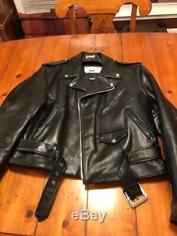 Schott Perfecto Motorcycle Horse Hide Leather Jacket Coat Size 46