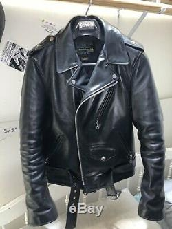 Schott nyc Model 613SH Size 38 vintage Perfecto One Star black horsehide jacket