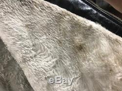 Sears Fieldmaster Genuine Horse Hide Black Leather Jacket Size 40 Made USA