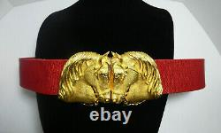 Signed Douglas Paquette Equestrian Gold Tone Horse Head Buckle Red Leather Belt