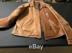 Stunning 1930's-40s vintage HORSE HIDE LEATHER JACKET rare distressed ROCK STAR