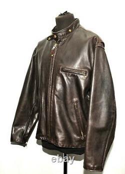 Superb Schott Nyc Cafe Racer Horse Hide Leather Motorcycle Bikers Jacket XL 46'