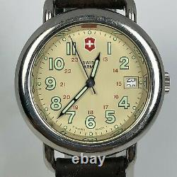 Swiss Army Mens Vintage Cavalry Field Military Brown Leather Date Quartz Watch