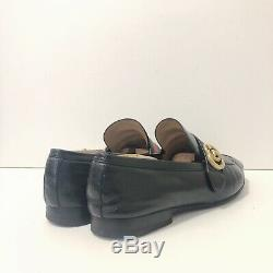 Sz. 10 Vintage Gucci Black Leather Horse Bit Green Red Stripe Loafers Italy Vtg