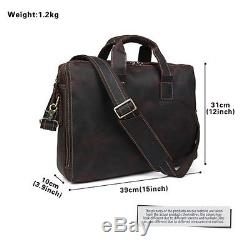 TIDING Vintage Style Crazy Horse Leather Mens Briefcase Shoulder Bag Laptop Tote