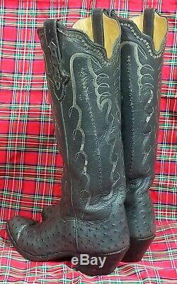 TO Stanley Women's Tall Gray Full Quill Ostrich Vintage Custom Cowboy Boots 8 B
