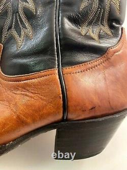 TONY LAMA Cowboy Wingtip Marbled Boots 8 Row Stitch Vintage US TX Made Men 10 D