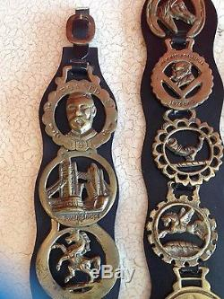 Three Fabulous Vintage Horse Leather Harness Bridle Straps & 14 Brass Medallions