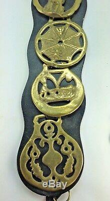 Three Leather Martingale Straps with 16 Brass Horse Vintage Medallions England
