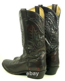 Tony Lama Black Cherry Leather Western Cowboy Boots Vintage White Label Men 12 D