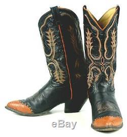 Tony Lama Black Leather Cowboy Boots Pumpkin Wingtip Vintage US Made Men's 9.5 D