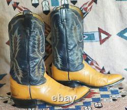 Tony Lama Blue Orange Cowboy Western Boots Vintage USA Made El Paso Men's 10.5 D