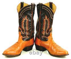 Tony Lama Cowboy Boots 10-Row Rainbow Stitch Vintage US El Paso TX Made Men 12 D