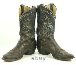 Tony Lama Cowboy Boots Peanut Brittle Vintage 70s Black Label USA Made Mens 13 E
