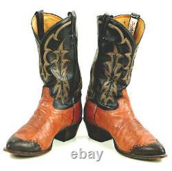 Tony Lama Cowboy Wingtip Marbled Boots 8 Row Stitch Vintage US TX Made Men 12 EE