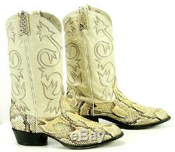 Tony Lama Cream Exotic Boa Snake Cowboy Western Boots Vintage Mid-80s Men's 9 EE