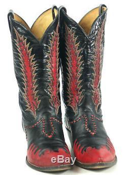 Tony Lama Firewalker Cowboy Western Boots Red Black Inlay Vintage 80s Men's 11 D