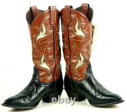 Tony Lama Kidd Leather Inlay Cowboy Boots Vintage TX Made Orig Box Women's 6.5 B