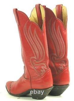 Tony Lama Red Wingtip Cowboy Boots 8 Row Stitch Vintage Blk Lbl US Made Women 8