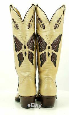 Tony Lama Vintage Women's Butterfly Inlay Tall Cowboy Boots Boho 70s El Paso 5.5