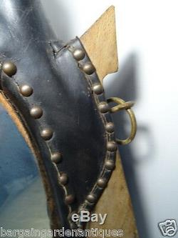 Unusual Rare Antique French Leather Equestrian Horse Collar Wall Hanging Mirror